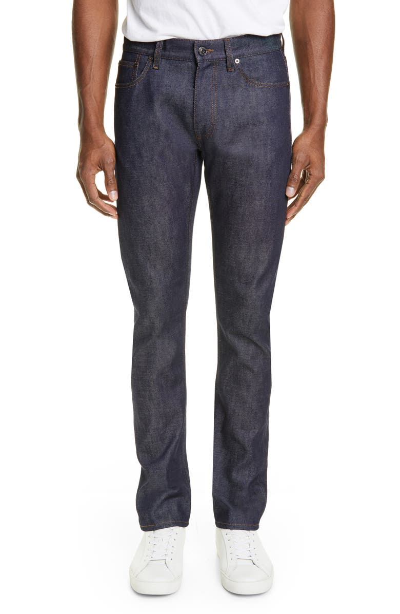 BURBERRY Straight Leg Raw Denim Jeans, Main, color, MID INDIGO BLUE