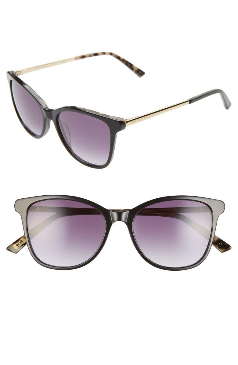 TED BAKER LONDON 52mm Square Sunglasses, Main, color, BLACK/ GOLD