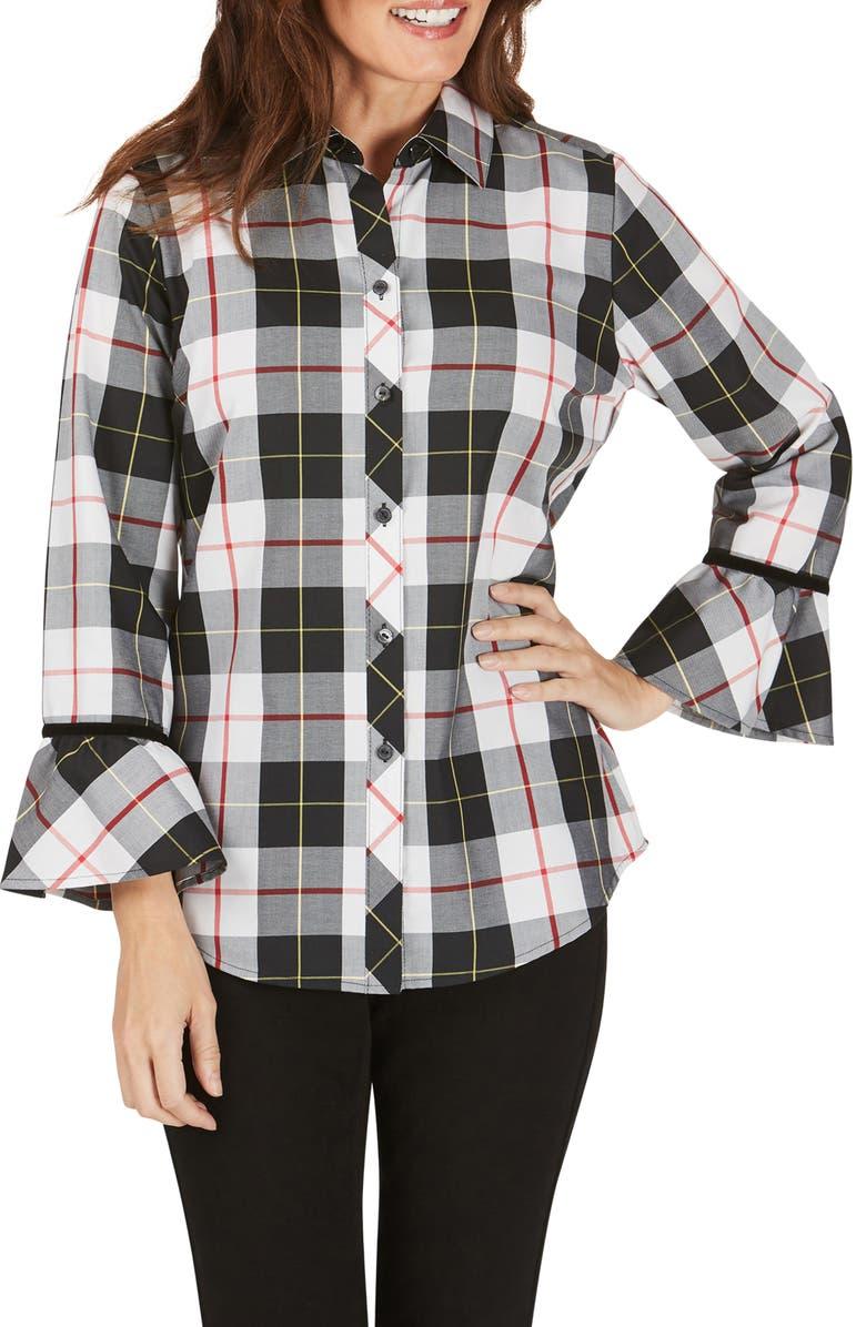 FOXCROFT Brinkley Sinclair Tartan Wrinkle-Free Shirt, Main, color, WINTER WHITE