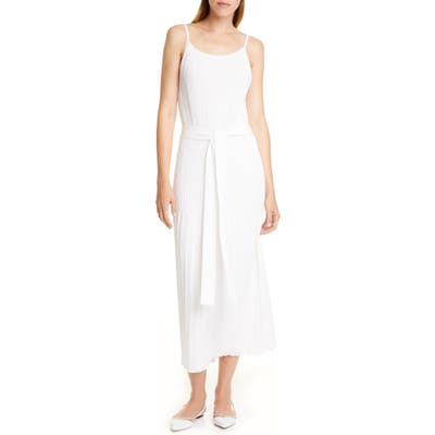 Theory Allover Pleated White Cotton Blend Sundress, Size Petite - White
