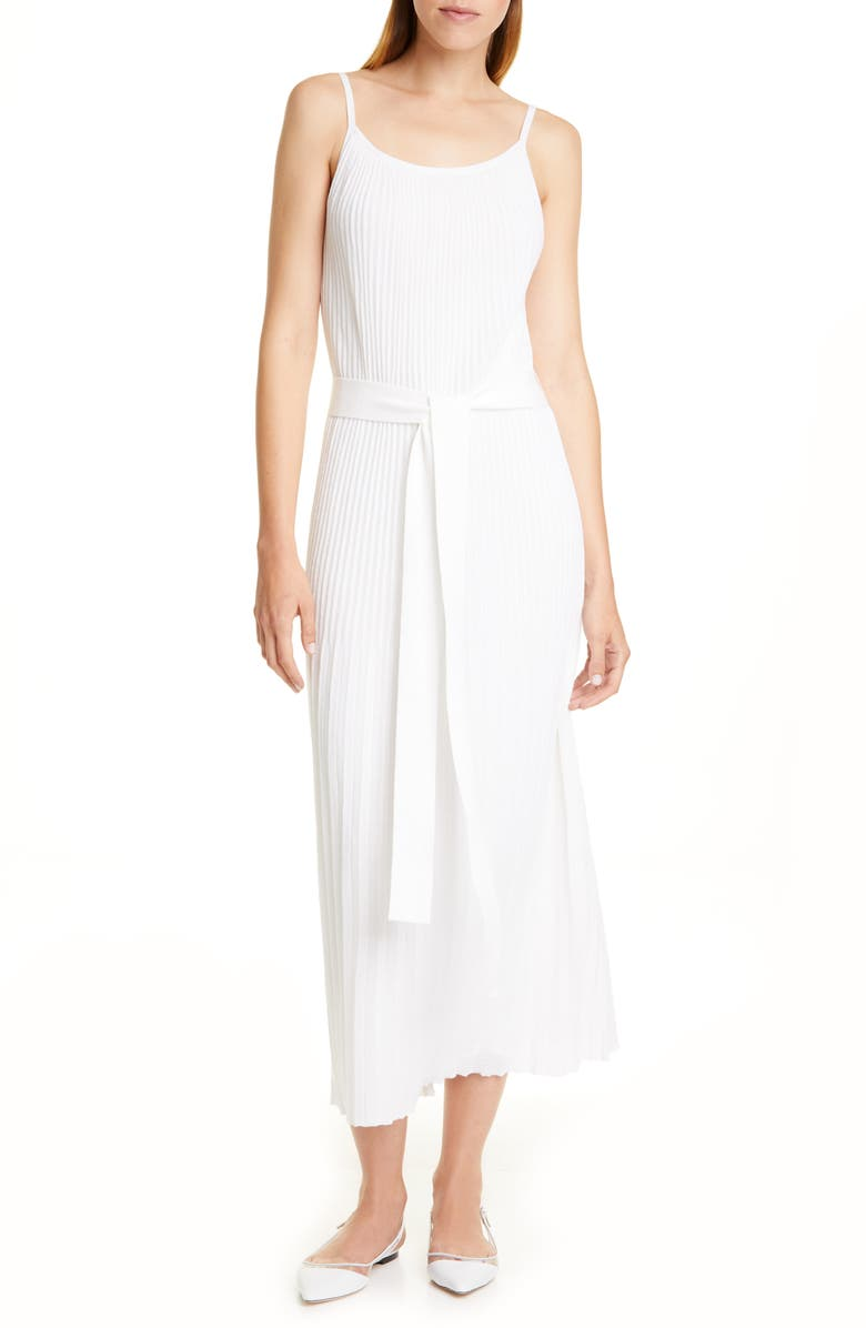 THEORY Allover Pleated White Cotton Blend Sundress, Main, color, WHITE