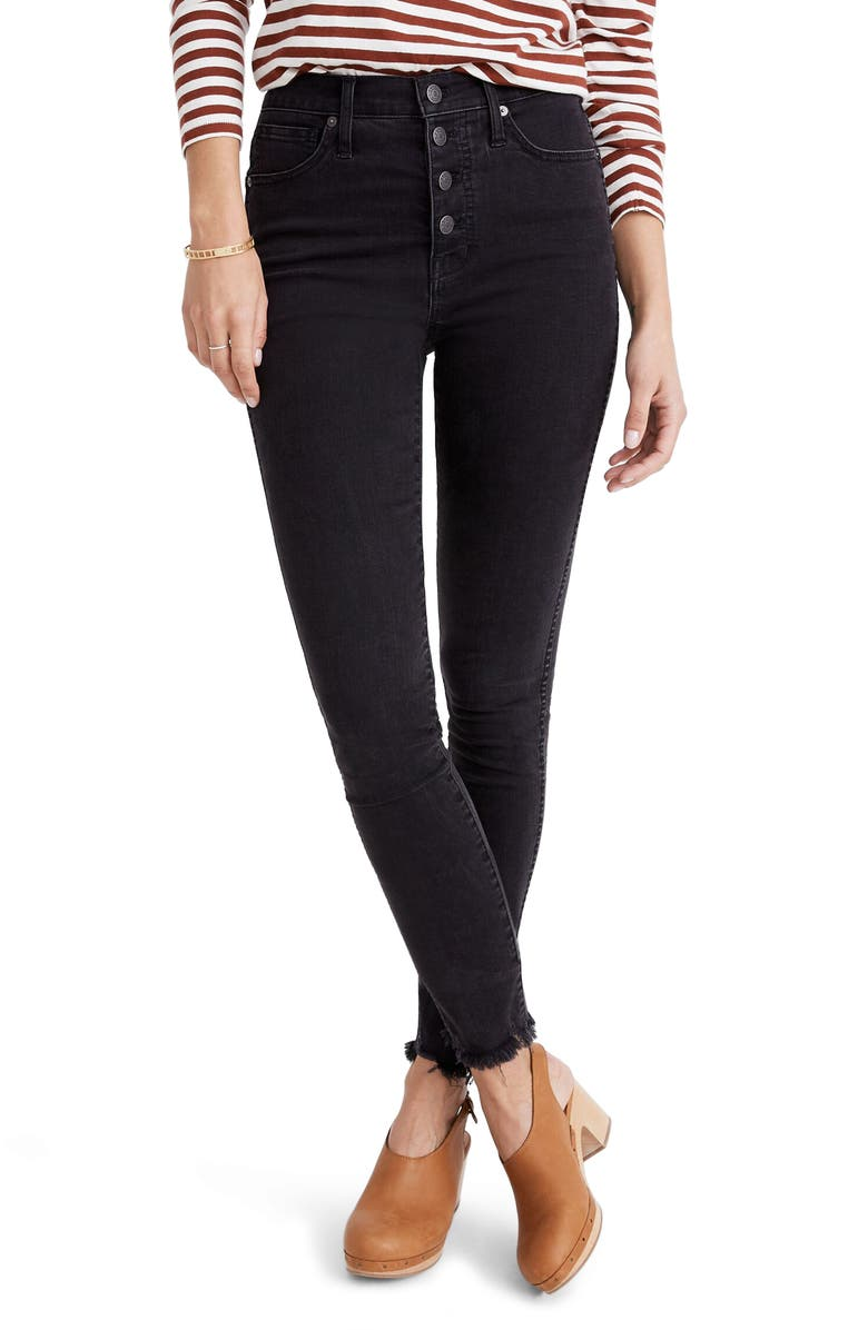 MADEWELL 10-Inch High Waist Skinny Jeans Button-Through Edition, Main, color, BERKELEY WASH
