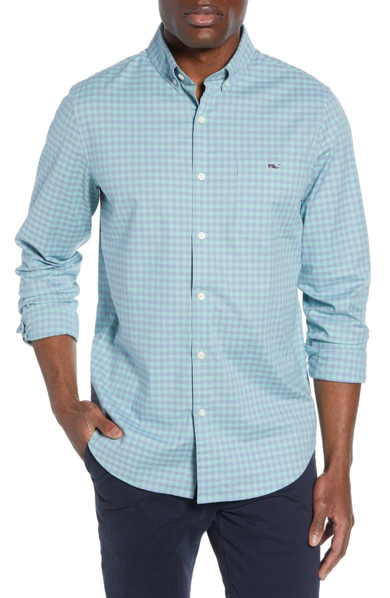 VINEYARD VINES Tucker Slim Fit Plaid Shirt, Main, color, GREENWICH GREEN