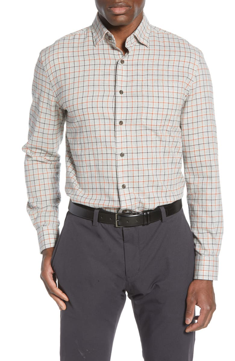 JOHNNIE-O Wake Classic Fit Plaid Button-Up Shirt, Main, color, LIGHT GRAY