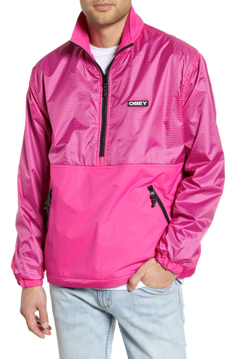 OBEY Nore Popover Jacket, Main, color, FUCHSIA