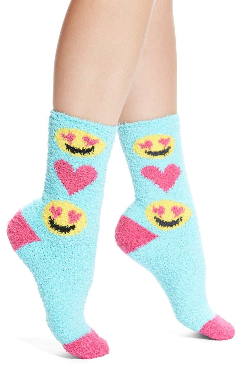 PJ SALVAGE 'Cozy Plush Emojis' Crew Socks, Main, color, 350