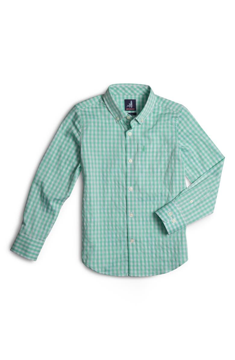 JOHNNIE-O Chet Gingham Button-Down Shirt, Main, color, HIGHLIGHTER