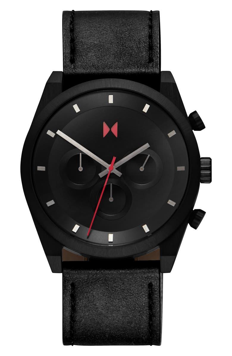 MVMT Element Chronograph Leather Strap Watch, 44mm, Main, color, BLACK