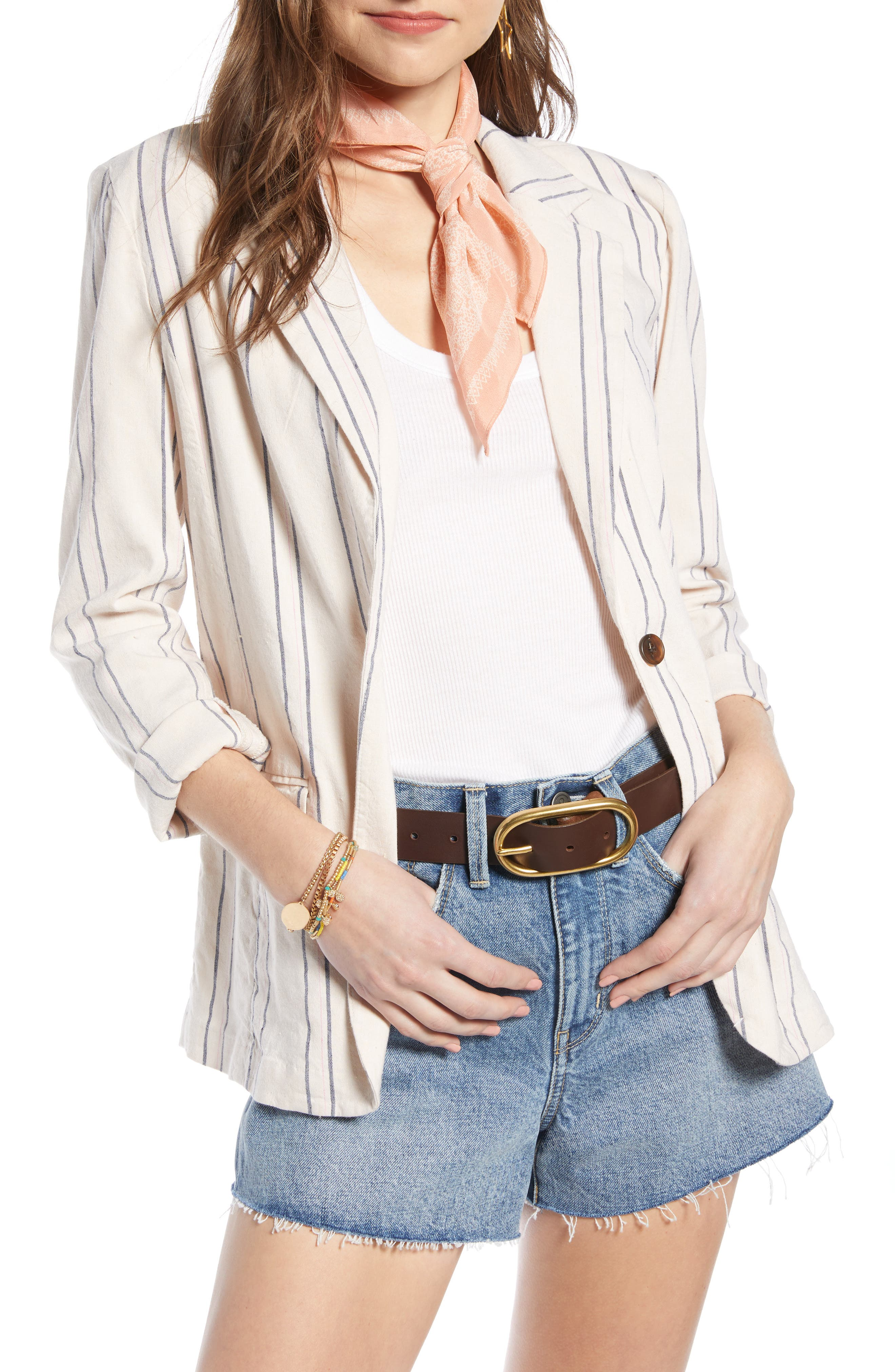 ,                             Stripe Relaxed Blazer,                             Main thumbnail 1, color,                             BEIGE BURNT EMMA STRIPE