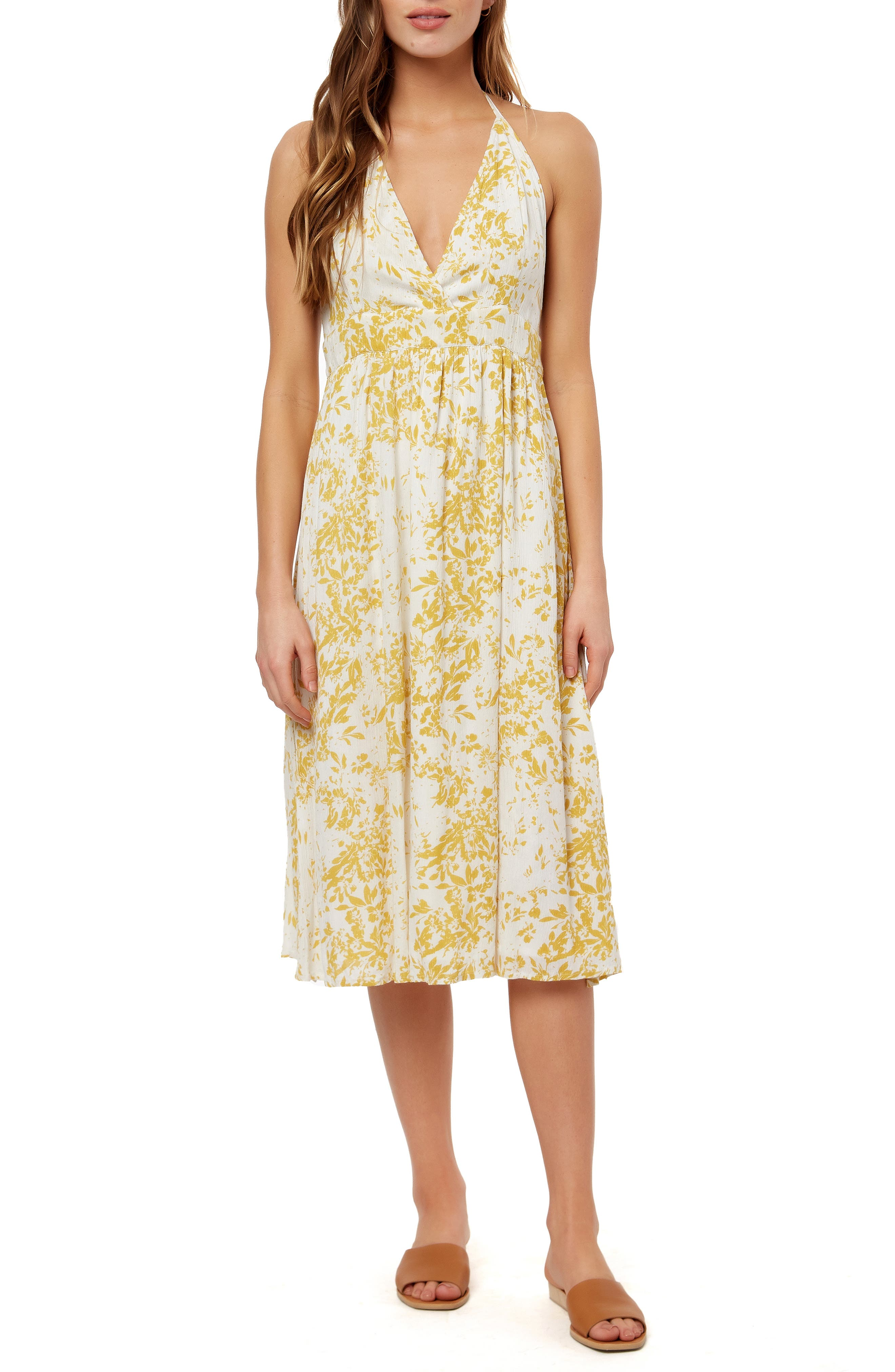 bd4e3530e69 O'Neill Andre Halter Neck Midi Dress, Ivory