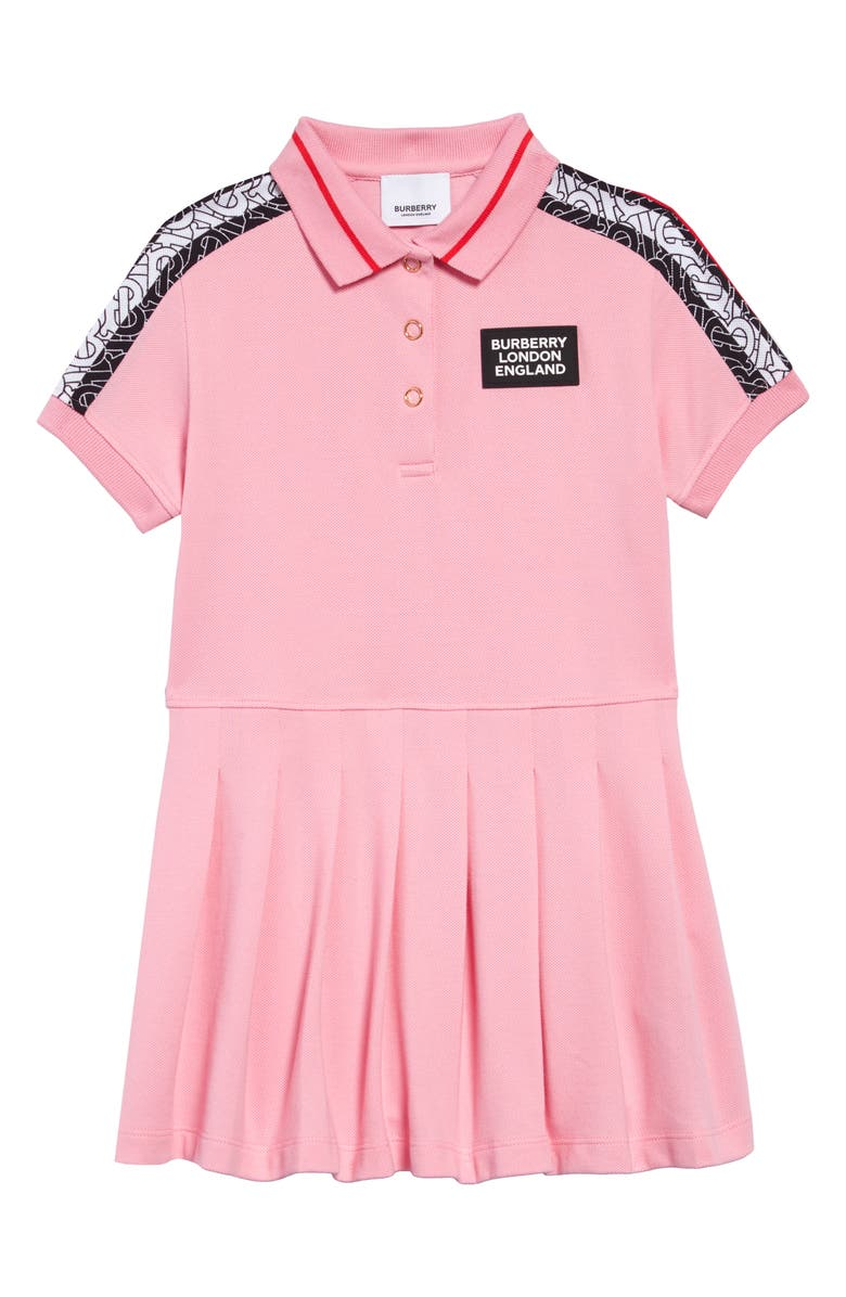 BURBERRY Rebecca Monogram Stripe Piqué Polo Dress, Main, color, CANDY PINK