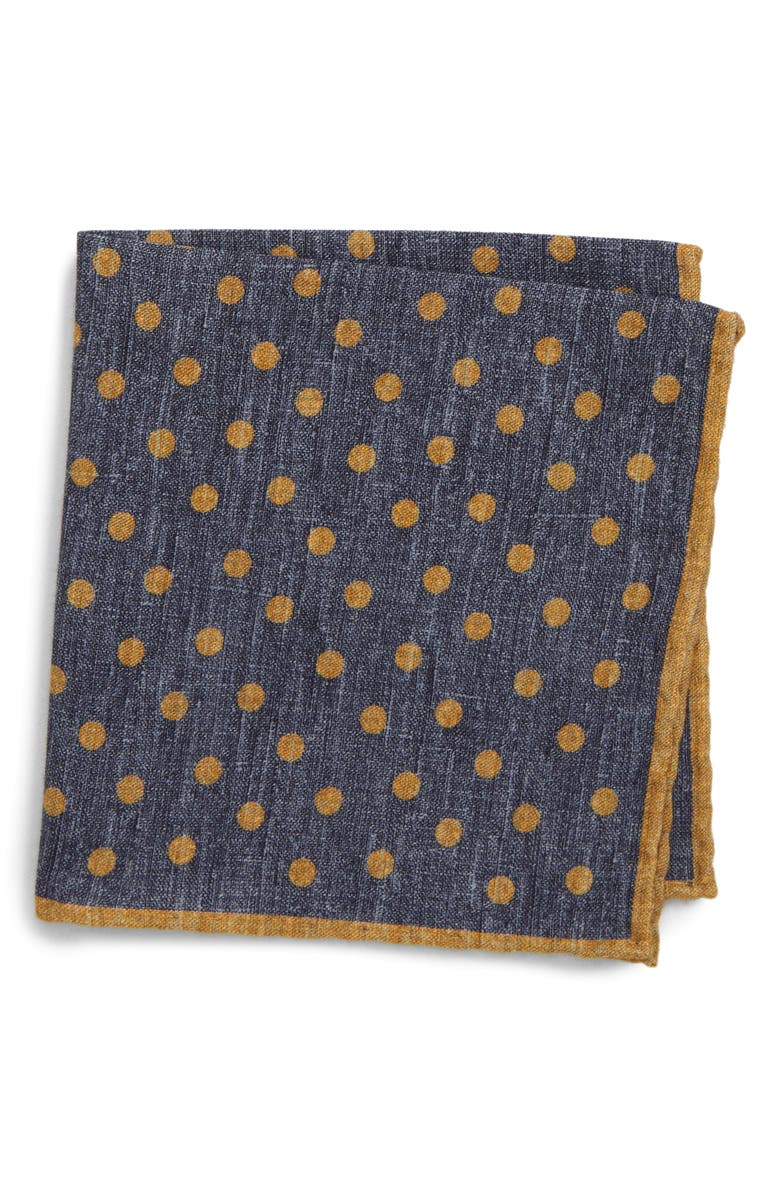 ELEVENTY Dot Wool & Cotton Pocket Square, Main, color, BLUE AND YELLOW