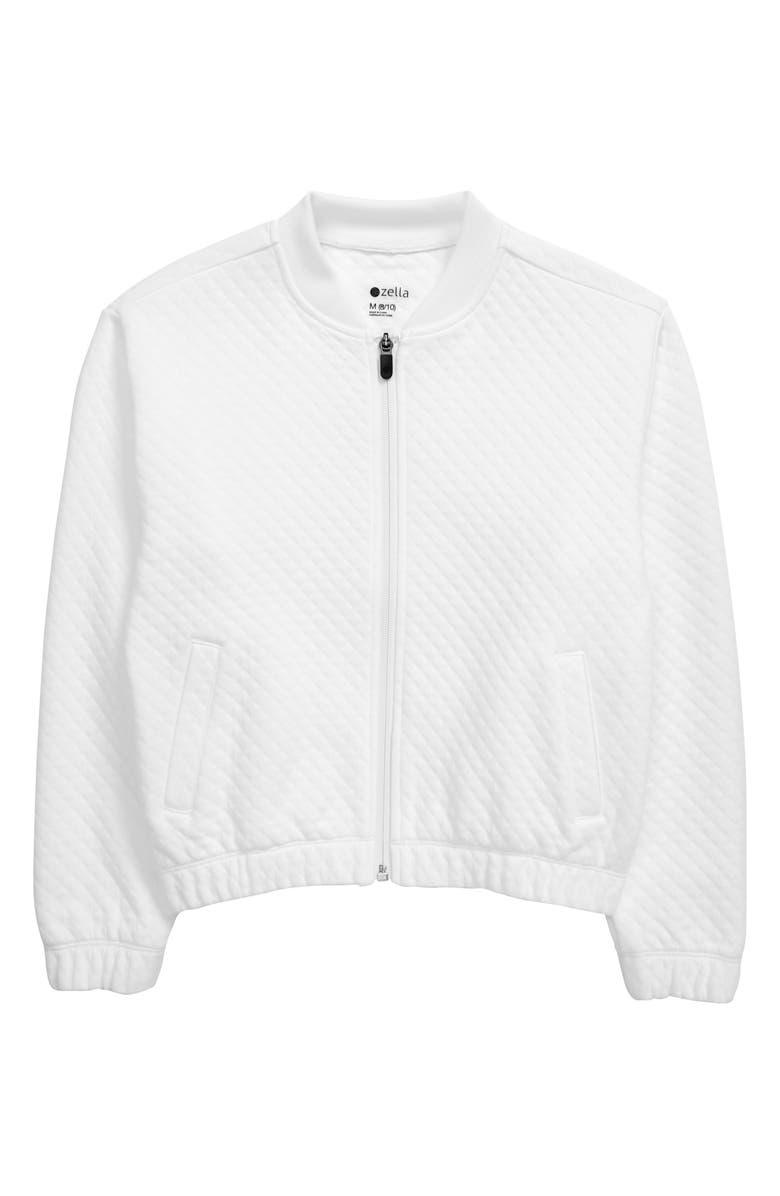 ZELLA GIRL Diamond Quilt Jacket, Main, color, WHITE