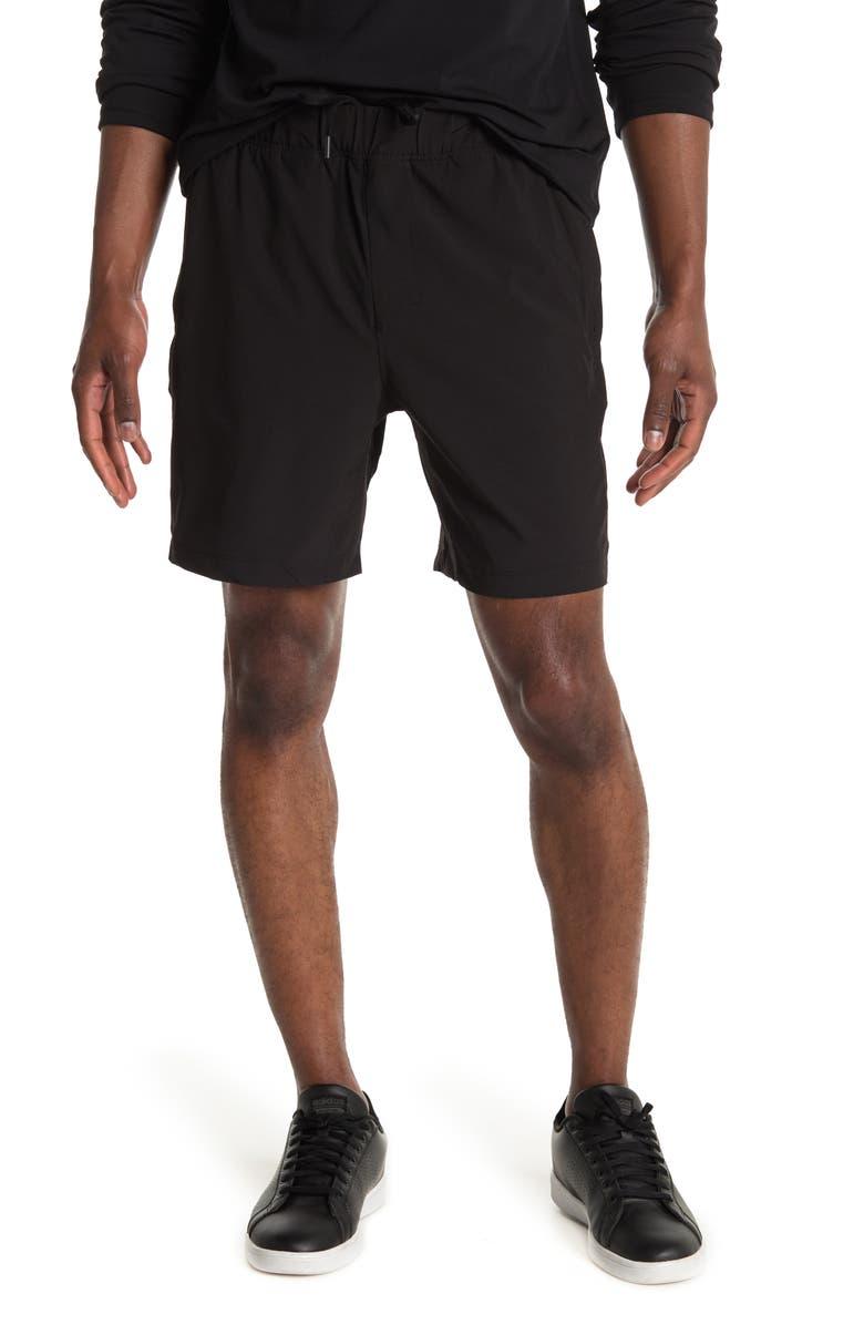 90 DEGREE BY REFLEX Zip Pocket Performance Shorts, Main, color, BLACK