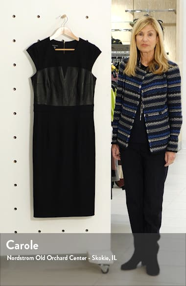 Heathrow Leather Detail Pencil Dress, sales video thumbnail