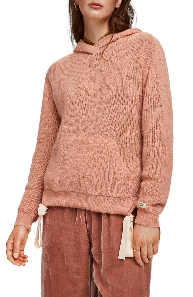 SCOTCH & SODA Knit Hooded Sweatshirt, Main, color, DUSTY ROSE