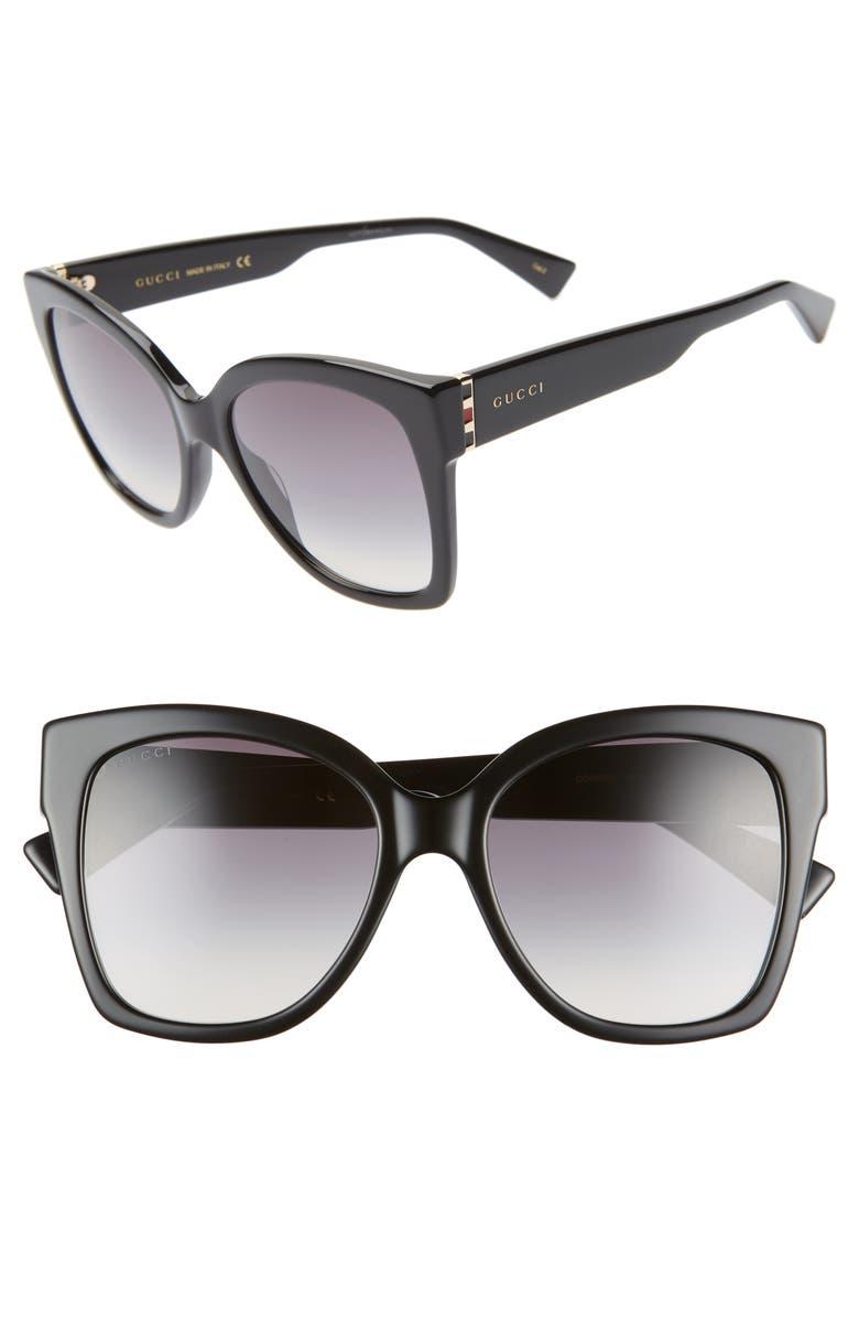GUCCI 54mm Square Sunglasses, Main, color, SHNY SOLID BLK/GRY GRAD