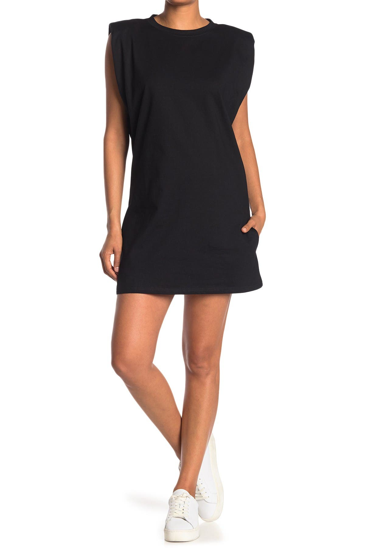 Image of ONE ONE SIX Shoulder Pad Jersey Knit Shift Dress