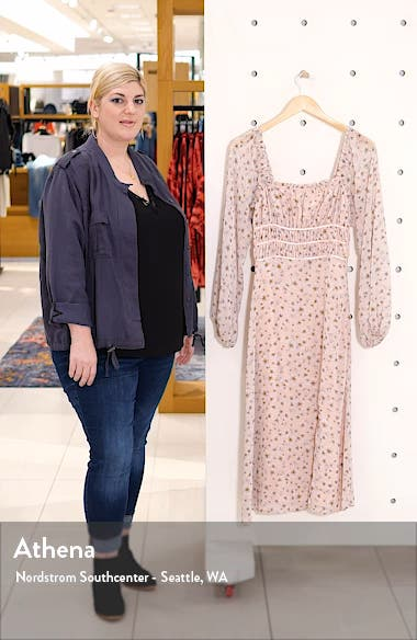 x Influencing in Color Liza Smocked Long Sleeve Midi Dress, sales video thumbnail
