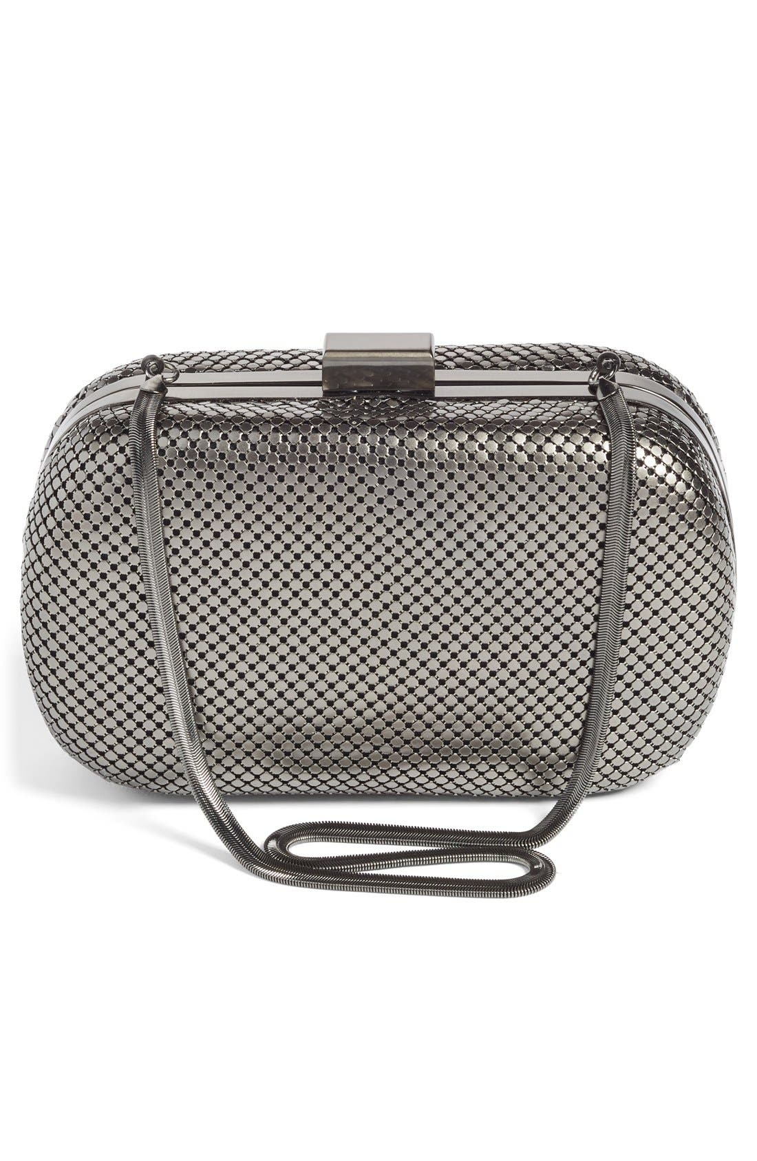 ,                             Mesh Oval Minaudière,                             Alternate thumbnail 4, color,                             GUNMETAL