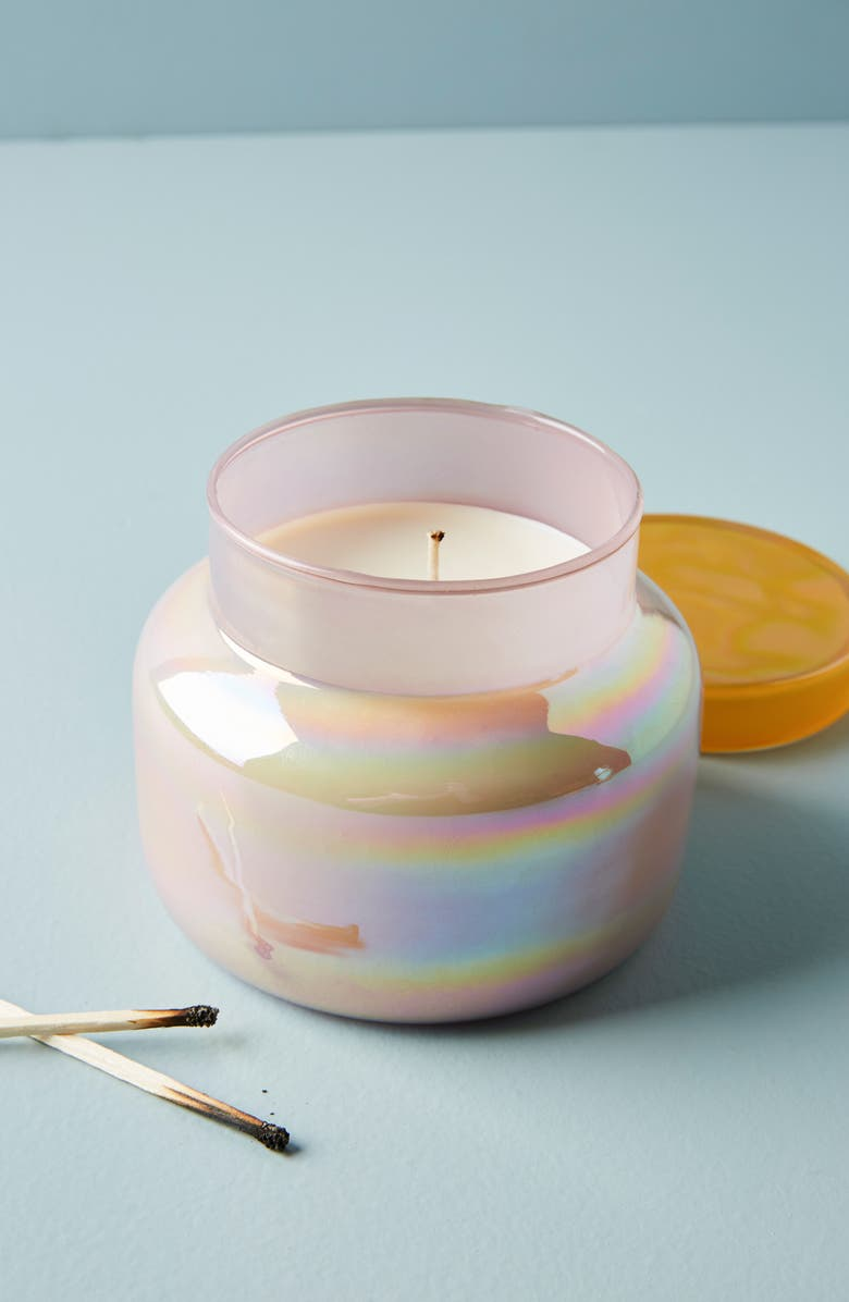 ANTHROPOLOGIE Iridescent Lagoon Candle, Main, color, LAGOON