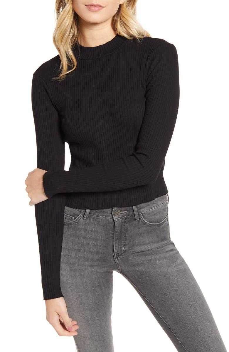 STATESIDE Ribbed Mock Neck Sweater, Main, color, BLACK
