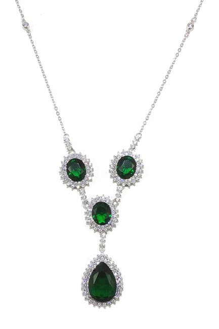 Image of Savvy Cie Sterling Silver CZ Halo Lab Created Emerald Statement Necklace