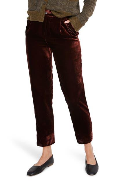 Madewell Pants VELVET TAPERED PLEAT PULL-ON PANTS
