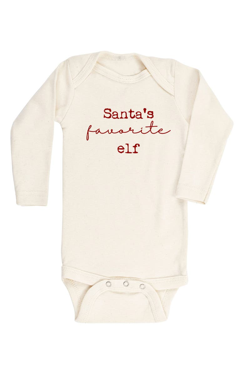 TENTH & PINE Santa's Favorite Elf Organic Cotton Bodysuit, Main, color, 900