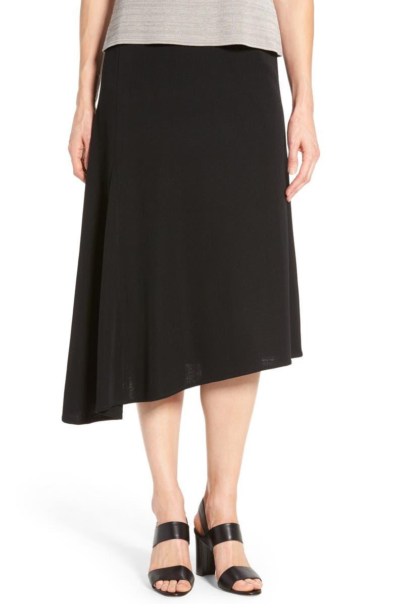 MING WANG Asymmetrical A-Line Knit Skirt, Main, color, BLACK