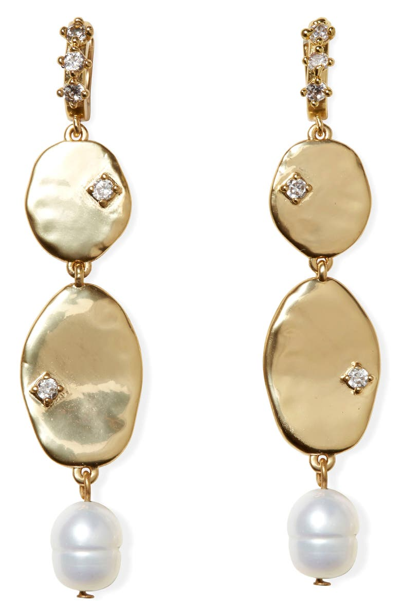 SOLE SOCIETY Freshwater Pearl & Crystal Linear Drop Earrings, Main, color, 12K SFT POL GLD/CRYS/IVRY FWP