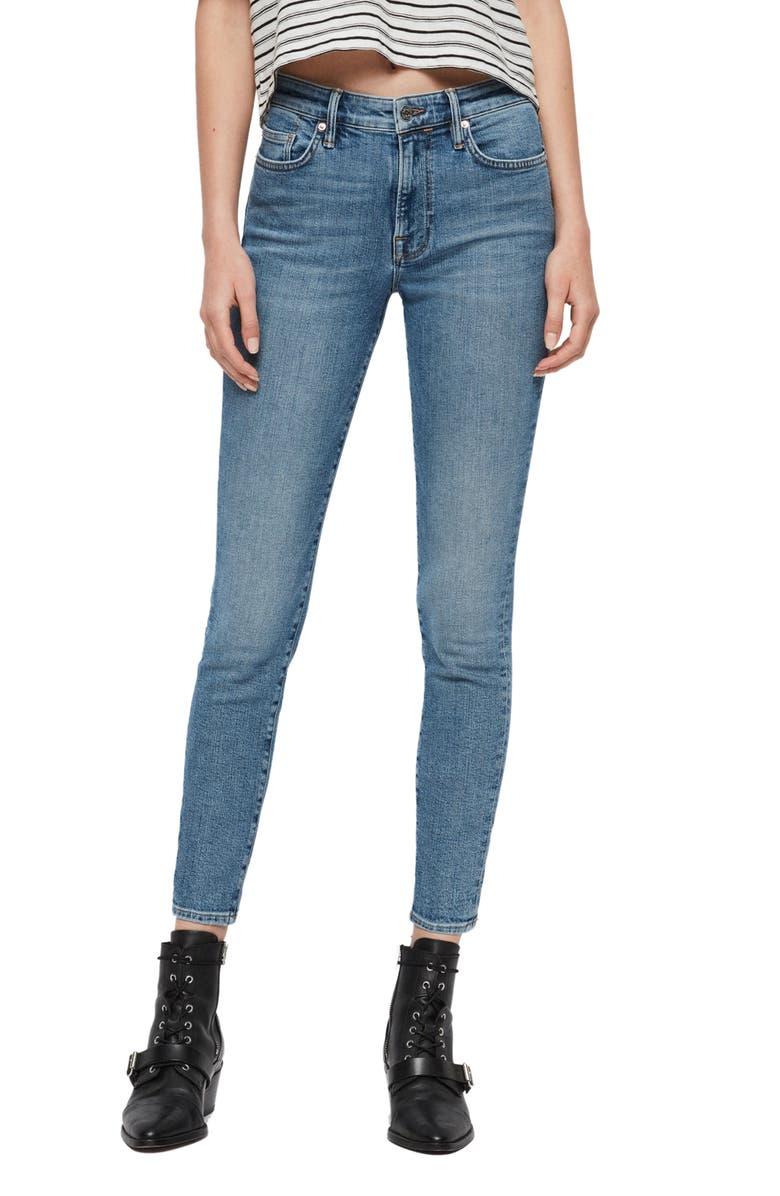 ALLSAINTS Roxanne Ankle Skinny Jeans, Main, color, MID INDIGO BLUE