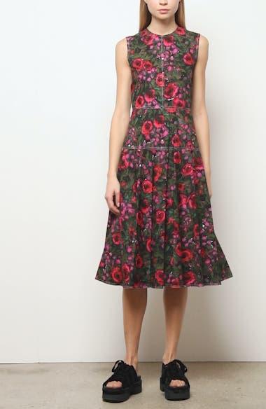 Floral Sleeveless Cotton Poplin Midi Dress, video thumbnail