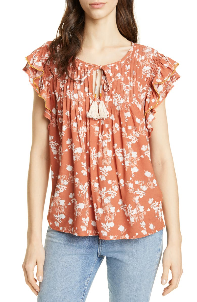 DOLAN Becker Embroidered Flutter Sleeve Top, Main, color, CLAY BLOSSOM FLORAL