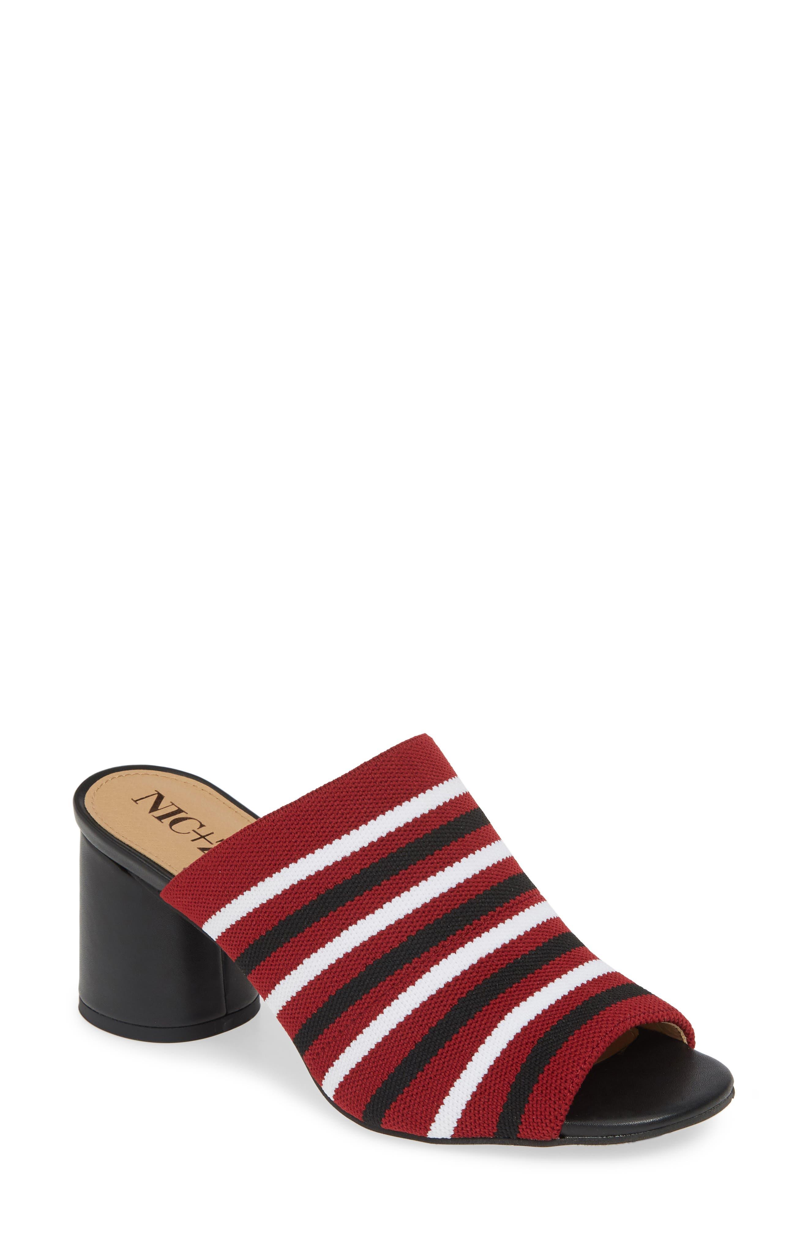 Nic+Zoe Padma Stripe Knit Mule Sandal, Red
