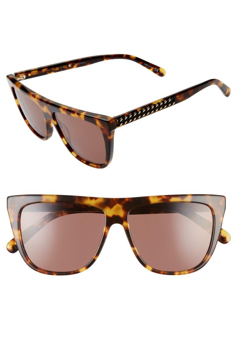 STELLA MCCARTNEY 56mm Flat Top Sunglasses, Main, color, MEDIUM HAVANA/ GOLD