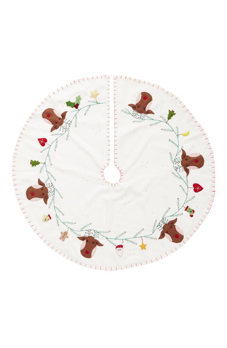 NEW WORLD ARTS Reindeer Tree Skirt, Main, color, WHITE
