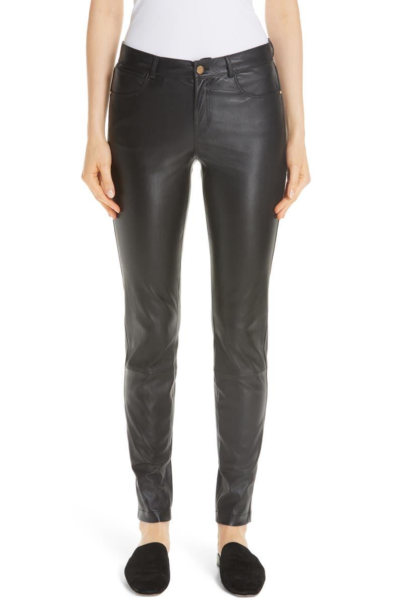 LAFAYETTE 148 NEW YORK Mercer Nappa Leather Pants, Main, color, BLACK