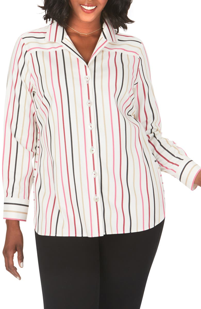 FOXCROFT Pandora Multistripe Stretch Shirt, Main, color, MULTI