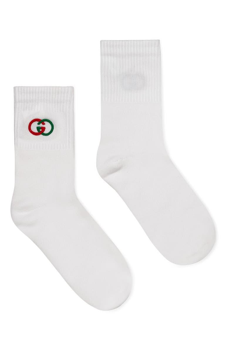 GUCCI Double G Logo Crew Socks, Main, color, WHITE/ DARK GREEN