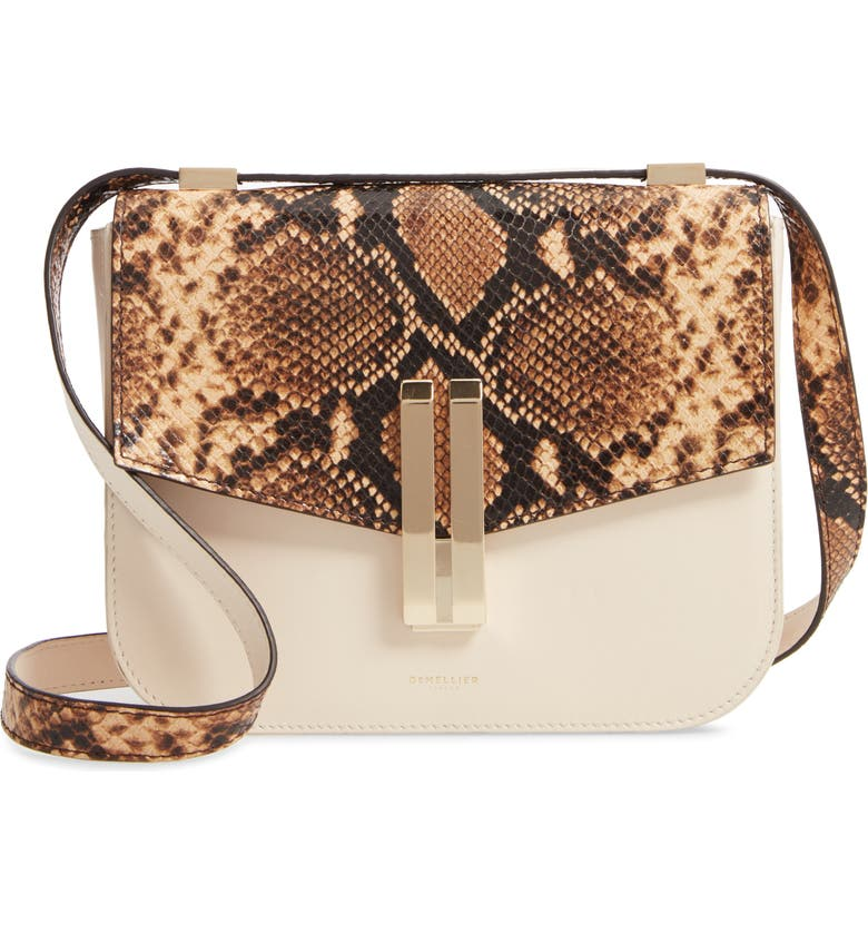 DEMELLIER Vancouver Snake Embossed Leather Crossbody Bag, Main, color, 200