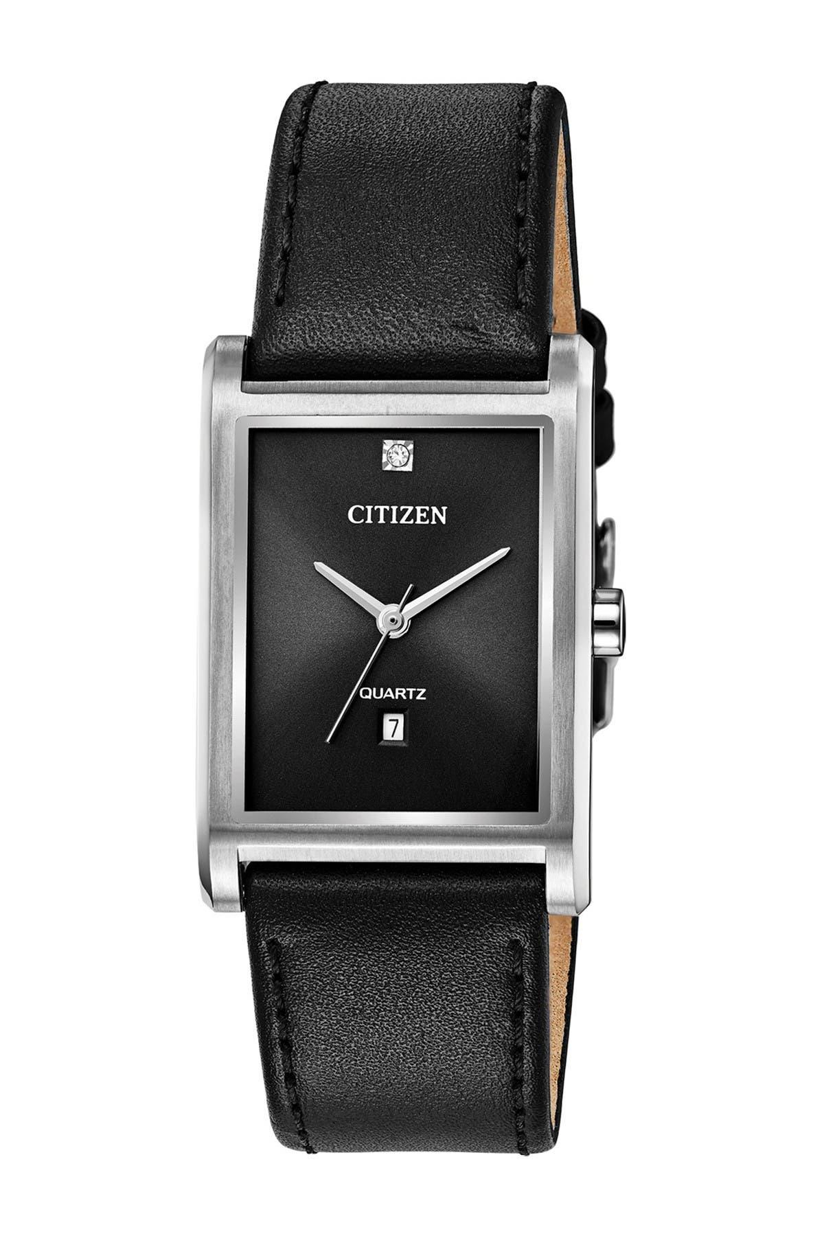 Image of Citizen Men's Black Leather Strap Watch, 25.5mm