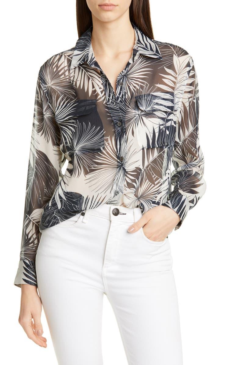 EQUIPMENT Signature Botanical Pattern Silk Georgette Shirt, Main, color, NATURAL WHITE ECLIPSE