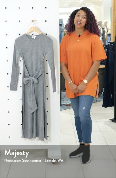 Tie Waist Long Sleeve Knit Midi Dress, sales video thumbnail