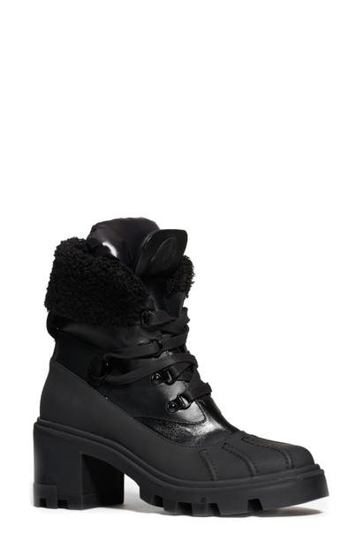 Moncler Leathers CORINNE FAUX SHEARLING CUFF HIKING BOOT
