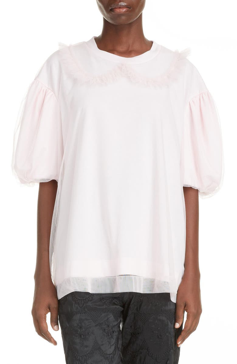 SIMONE ROCHA Tulle Layer T-Shirt, Main, color, PINK