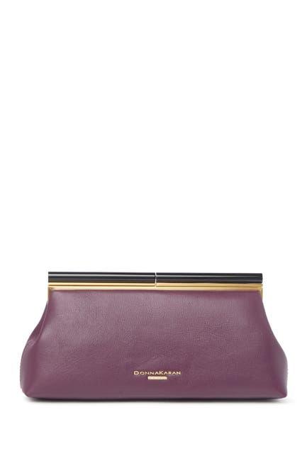 Image of Donna Karan Cornelia Leather Frame Clutch