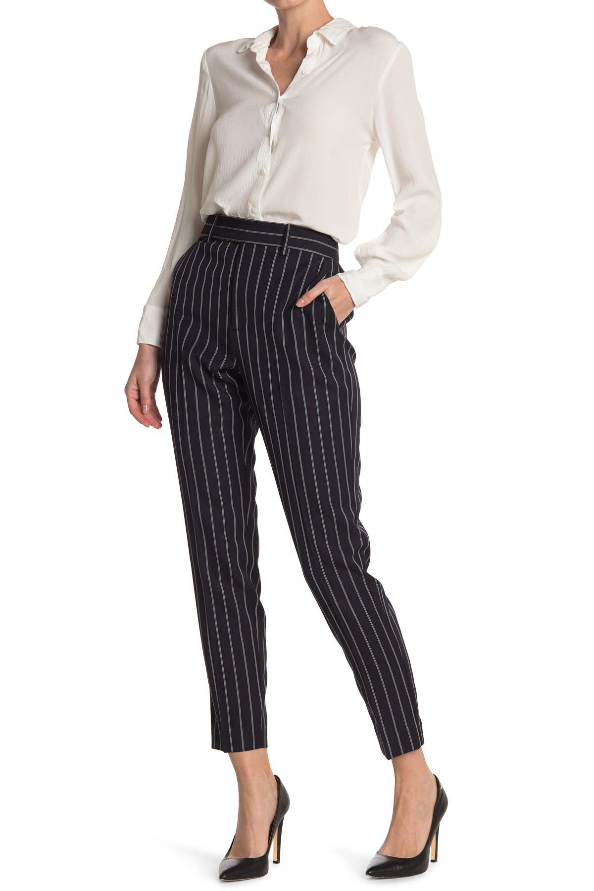 Image of Equipment Warsaw Pinstripe High Waisted Trousers