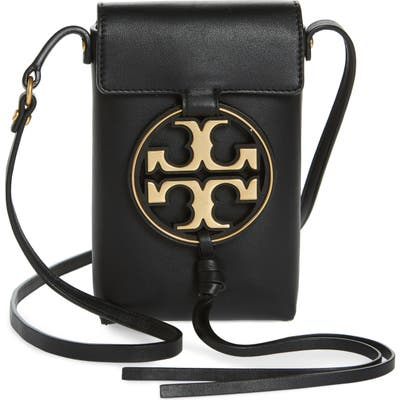 Tory Burch Miller Leather Phone Crossbody Bag - Black