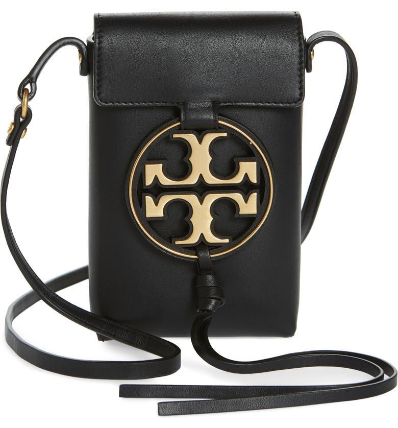 TORY BURCH Miller Leather Phone Crossbody Bag, Main, color, BLACK